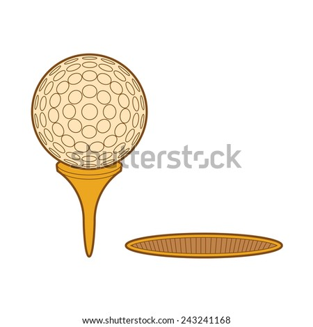 ball for golf with tee and hole - vector illustration - stock vector