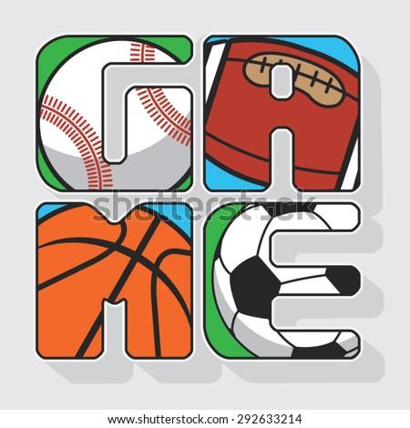 Ball game football , rugby, base ball, basket ball, illustration, typography, t-shirt graphics, vectors  - stock vector