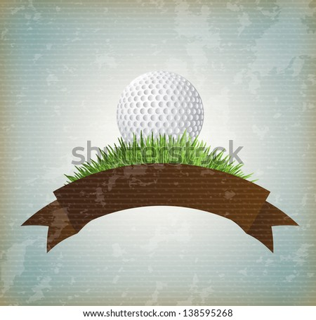 ball golf over vintage background vector illustration - stock vector