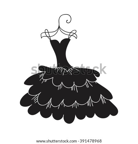 Ball gown female black on a hanger - stock vector
