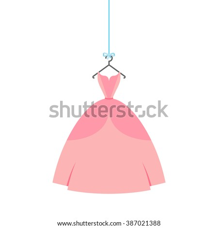 Ball gown female rose long on a hanger - stock vector