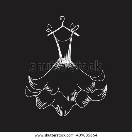 ball gown hand drawing sketch female monochrome short on a hanger on a black background - stock vector