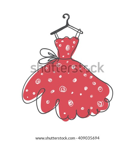ball gown hand drawing sketch female pink short on a hanger on a white background - stock vector