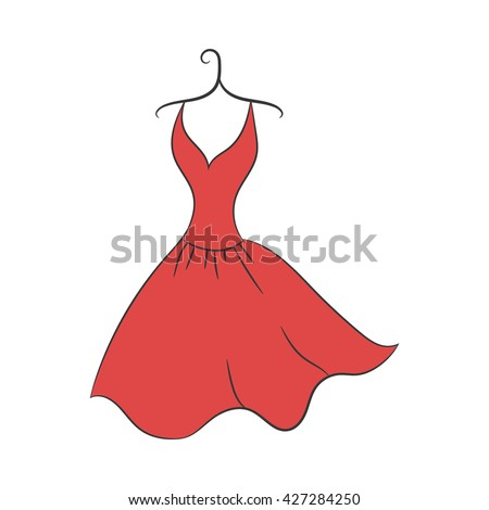 ball gown hand drawing sketch female red short on a hanger on a white background - stock vector