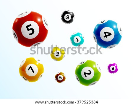 ball lottery numbers 3d - stock vector