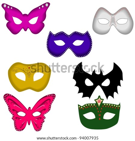 Ball masks set - stock vector