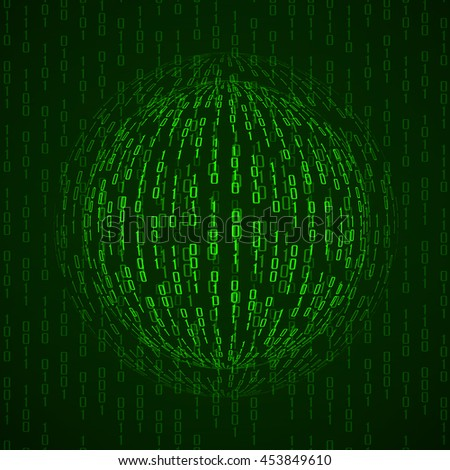 Ball of binary code. Abstract technology background, vector illustration, eps10 - stock vector