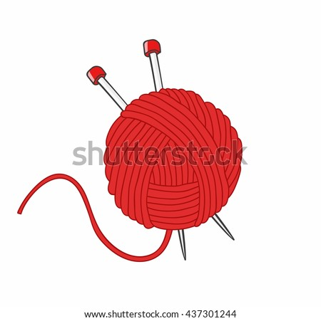 Ball of yarn and needles isolated on white background - stock vector
