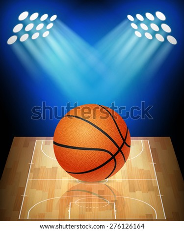 Ball on basketball court with spotlights. Vector EPS10 illustration.  - stock vector