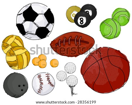 Ball Sport Doodles - Vector