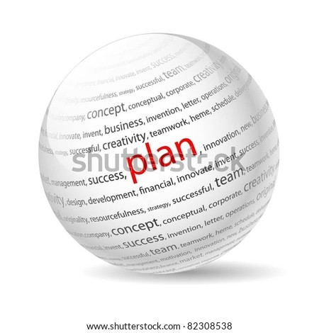 Ball with inscription plan, on a white background. Vector. - stock vector