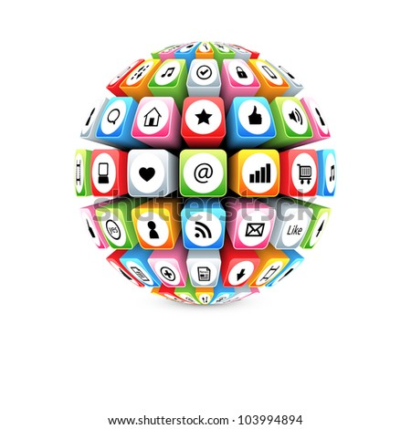 ball with social media icons vector - stock vector