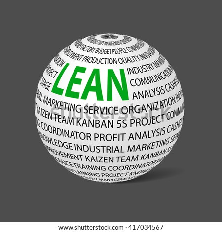 Ball with word Lean. Ball filled by other words related with lean concept.  Lean is modern program of productivity. Vector illustration