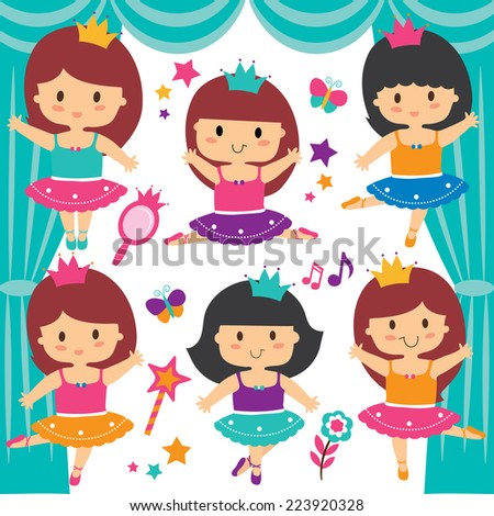 ballerina dancer clip art set - stock vector