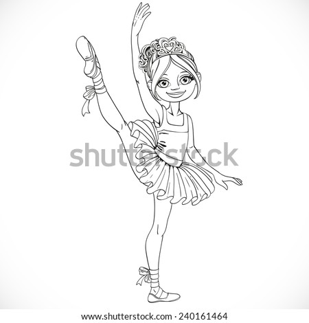 Ballerina girl dancing in ballet tutu on one leg outlined isolated on a white background - stock vector