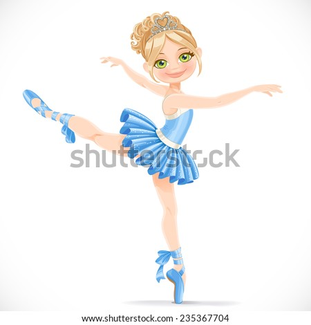 Ballerina girl dancing in blue dress isolated on a white background - stock vector