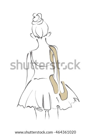 Ballerina girl in behind with ballet shoes line art minimal style illustration