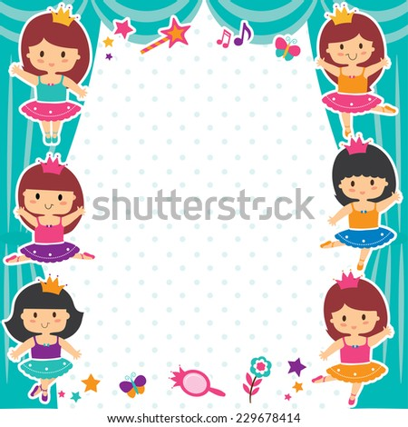 ballerina girls layout design - stock vector