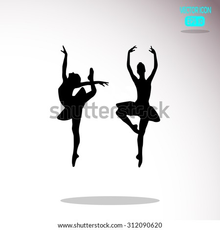 Ballerina in ballet pose.  - stock vector