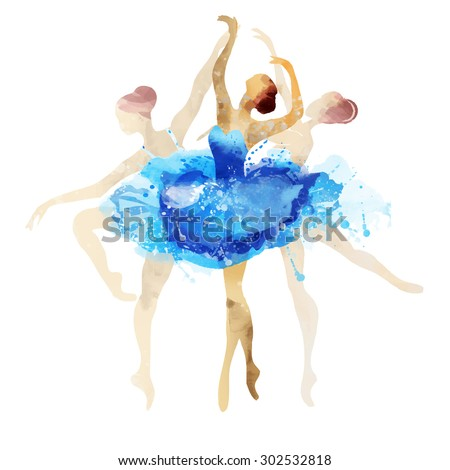 Ballerina in blue vector watercolor - stock vector