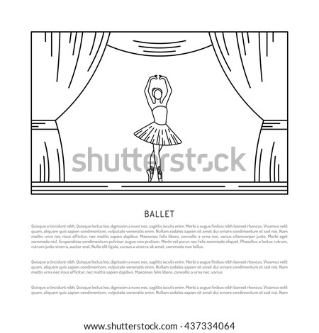 Ballerina in dance. Vector poster perfect for ballet school or studio, dance studio, performance. Flyer, invitation, poster or greeting card design template with ballerina - stock vector