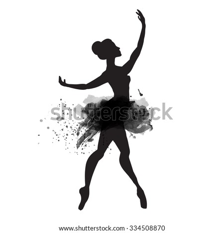 Ballerina in dance. watercolor black and white.vector - stock vector