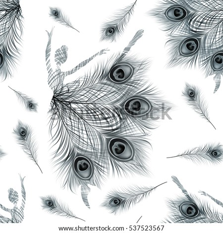 Ballerina. Seamless Pattern with abstract ballerinas on white background. Vector vintage ornament with black peacock feathers.