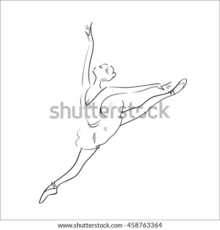 Ballerina silhouette on a white background. Vector illustration.