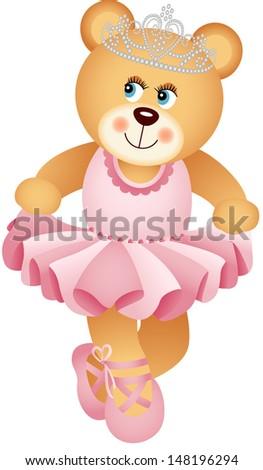 Ballerina Teddy Bear - stock vector