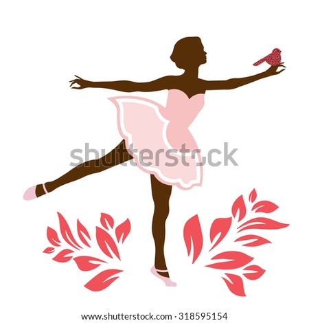 Ballerina with bird on hand  - stock vector
