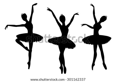Ballerinas silhouettes, isolated on white