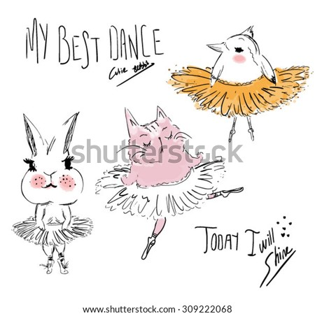 ballet animals - stock vector