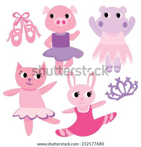 Ballet Animals, Cute Ballerina Characters  - stock vector