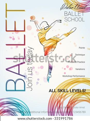 Ballet background flyer brochure invitation ticket stock vector flyer brochure invitation ticket poster or greeting card design stopboris Images
