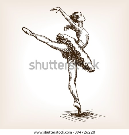 Ballet dancer girl sketch style vector illustration. Old hand drawn engraving imitation.  - stock vector