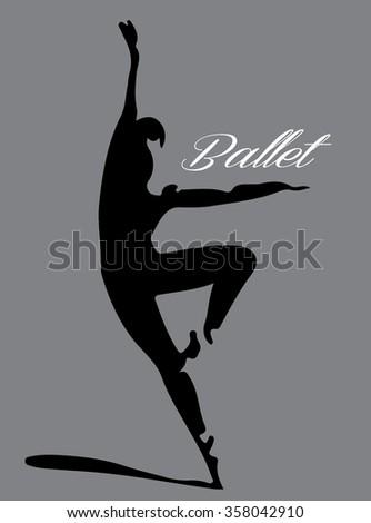 ballet dancer silhouette 2 lettering - stock vector