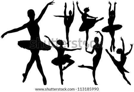 Ballet female dancers vector silhouettes on white background. Layered. Fully editable. - stock vector