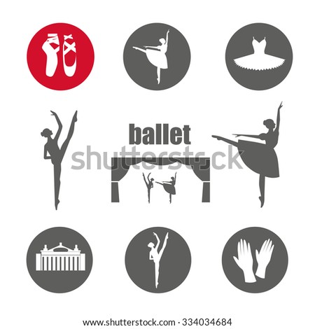 Ballet icon set with ballet shoes, ballet tutu, ballerina, theater, applause. Vector ballerina isolated. - stock vector