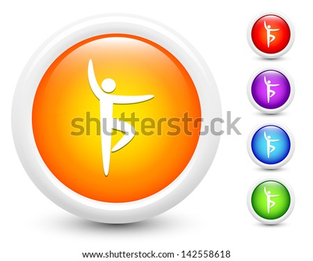 Ballet Icons on Round Button Collection Original Illustration - stock vector