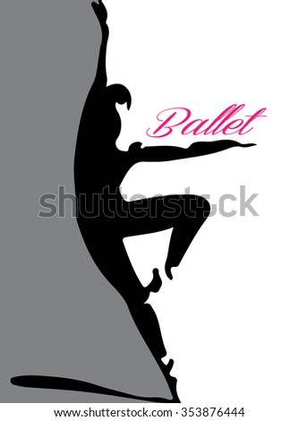 ballet illustration lettering - stock vector
