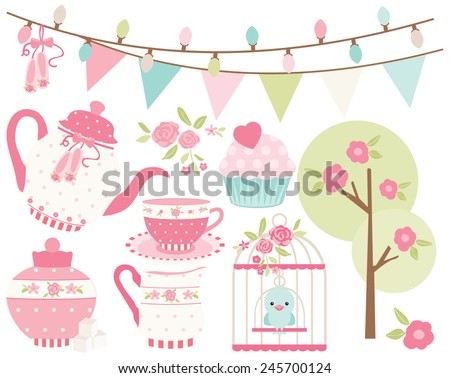 Ballet Princess Tea Garden - 1 - stock vector