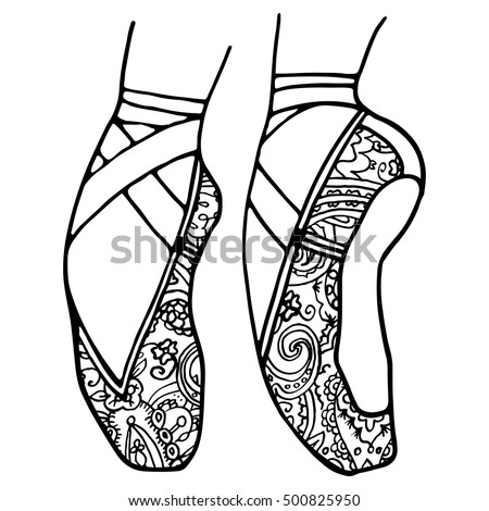 Ballet Shoes Pointe Adult Coloring Book Stock Vector 500825950