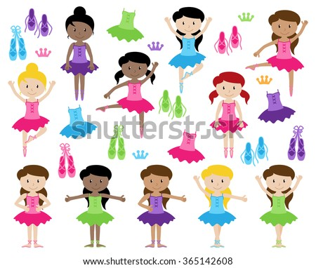 Ballet Themed Vector Collection with Diverse Girls - stock vector