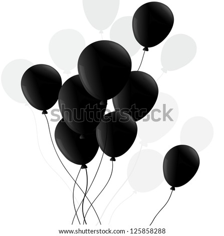 ballon black with shadow isolated - stock vector