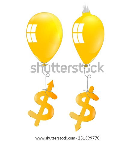 Balloon and dollar sign vector inflation symbols - stock vector