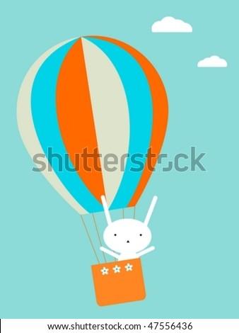 Balloon flying - stock vector