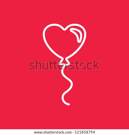 balloon gelium heart love line icon vector white on red