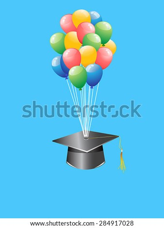 balloon graduation cap - stock vector