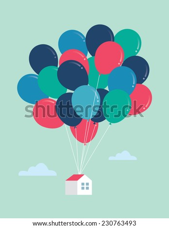 balloon house vector/illustration