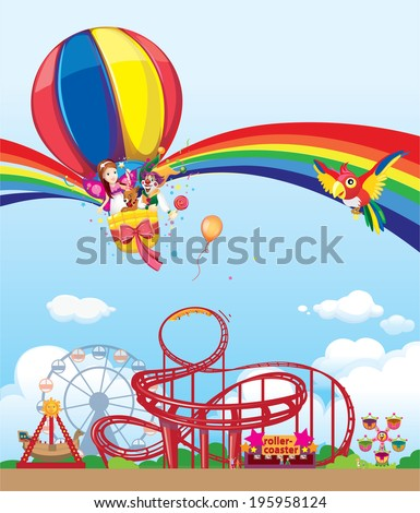 balloon in the amusement park - stock vector